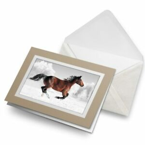 Greetings-Card-Biege-Galloping-Brown-Horse-Horses-3965