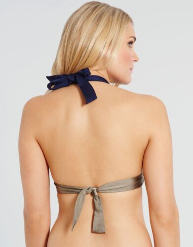 Pour Moi Marbella Halterneck Padded Bikini Top 8600 Navy Blue Sizes 10 12 NEW