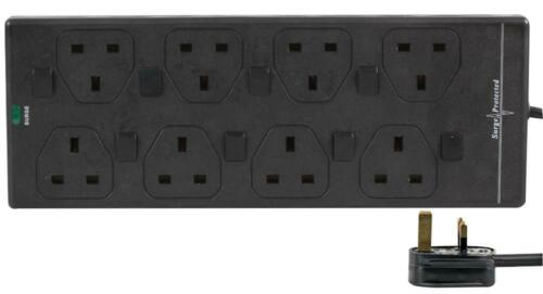 3m Switched 8 Gang Mains Extension Lead 8 Way UK Power Sockets BLACK