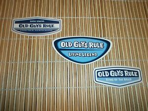 3 OLD GUYS RULE LOCAL LEGEND LIVING LEGEND KING OF THE ROAD STICKER SET