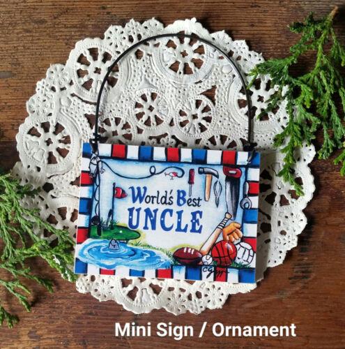 DECO Mini Sign World/'s Best UNCLE Door Hanger Ornament Decorative Greetings NEW