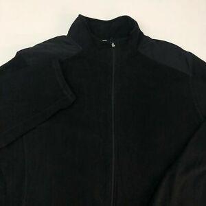 Tek-Gear-Fleece-Jacket-Mens-2XL-XXL-Black-Full-Zip-Up-Insulated-Pockets-Casual