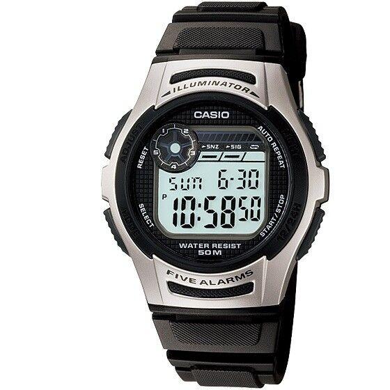 Casio W-213-1AV Silver Black Digital Sports Watch with Casio Box