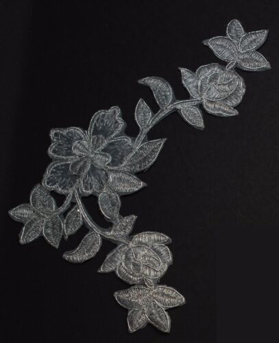 Extra large flower patches applique patch motif iron// sew on trim Silver #3