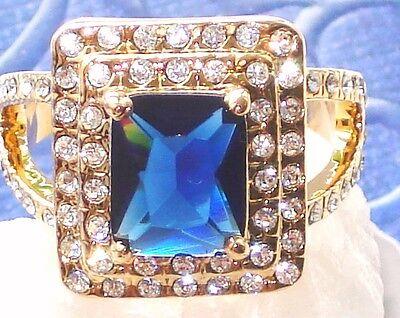 HERRENRING & DAMEN Ring SMARAGD-Schliff GOLD / GELBGOLD SAPHIR ROYAL Blau plated