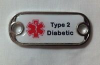 Medical Alert type 2 Diabetic Dog Tag Style Charm For Paracord Bracelets