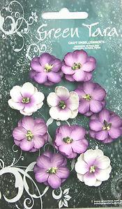 Cherry-Blossoms-LAVENDER-10-Paper-Flowers-25mm-across-Green-Tara-GT-D