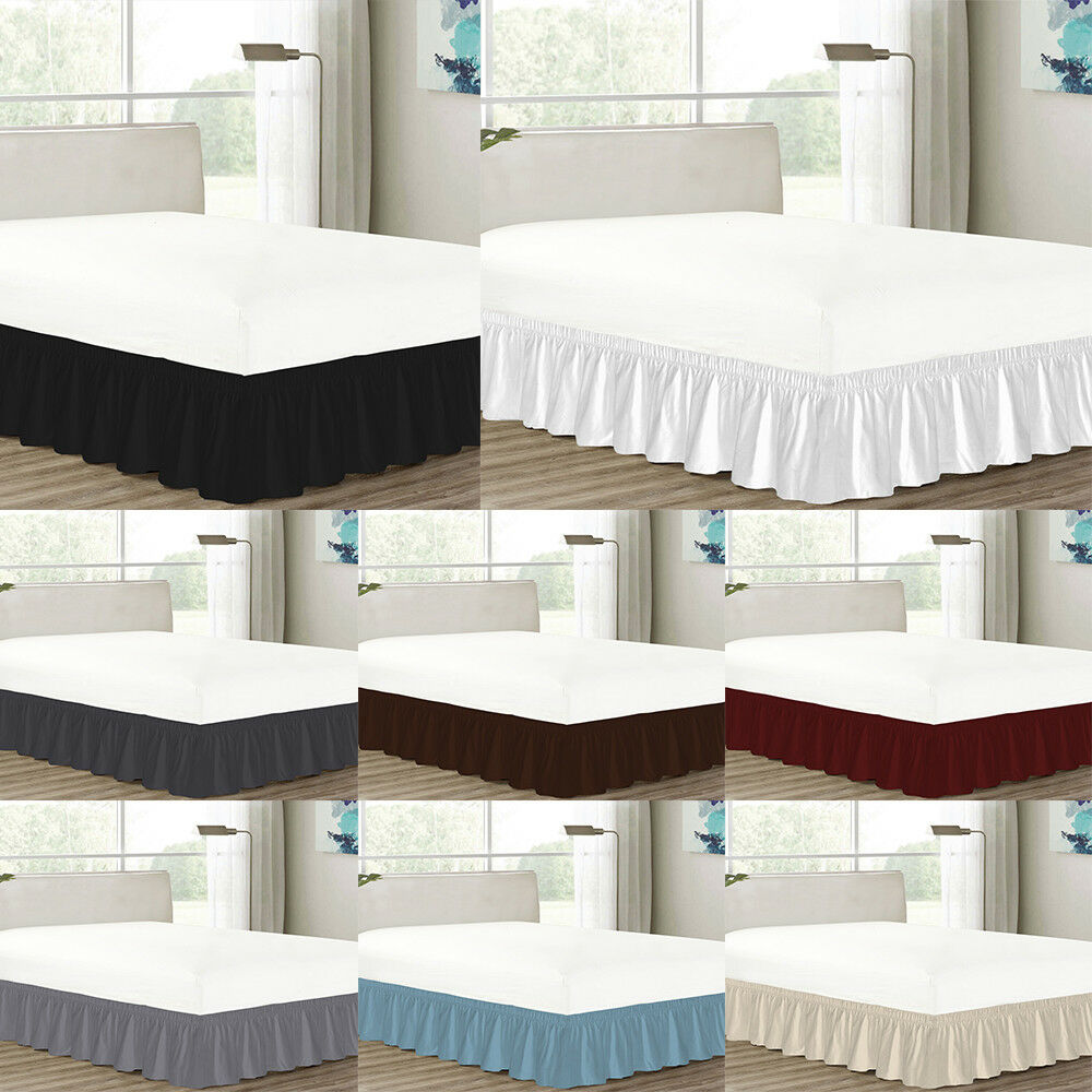MISR Linen Solid Wrap Around BedSkirt Egyptian Cotton 400 Thread Count 21 Inches