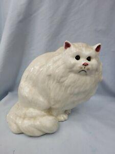 Vtg N. S. Gustin Cream Persian Cat Figurine Figural Statue Hand Decorated USA