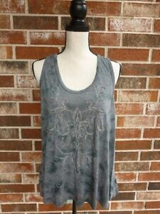 10b9facc390 Image is loading WOMENS-MISS-ME-GRAY-BEADED-EMBELLISHED-RACERBACK-TANK-