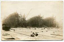 RPPC Shipbuilding Yard at Olympia Washington 1917 Boat Real Photo A77