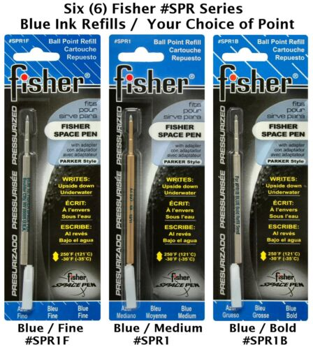 SIX 6 Fisher Space Pen SPR Series Blue Ink Refills Your Choice of Point