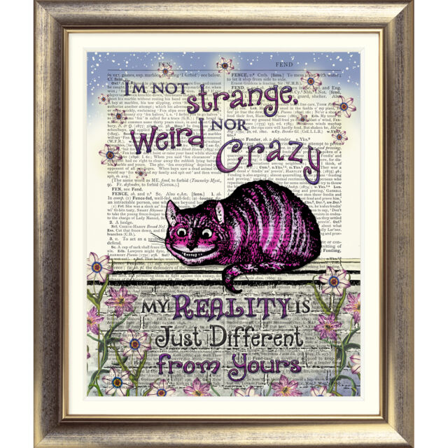 DICTIONARY PAGE ART PRINT VINTAGE ANTIQUE BOOK Alice in Wonderland Cheshire Cat
