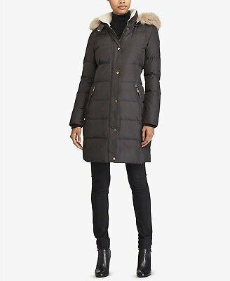 Womens Lauren Ralph Lauren Faux-Fur-Trim Quilted Down Coat ...