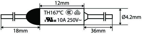 Set 1 2 5 Sicherung Thermo 192° Wärmeschmelzend Ringe Ab Einpress Endstücke