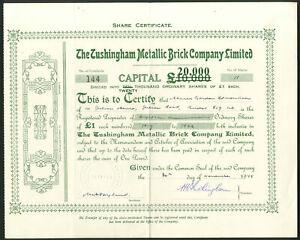 Tijolo Metálico Tushingham Co. Ltd, £ 1 ações, 1915