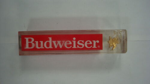 Vtg Classic Budweiser Beer Tap Handle Keg Clear Acrylic Advertising Man Cave
