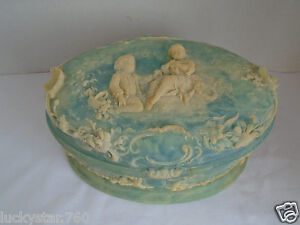 Genuine Incolay Stone Light Blue Oval Trinket / Jewelry Box