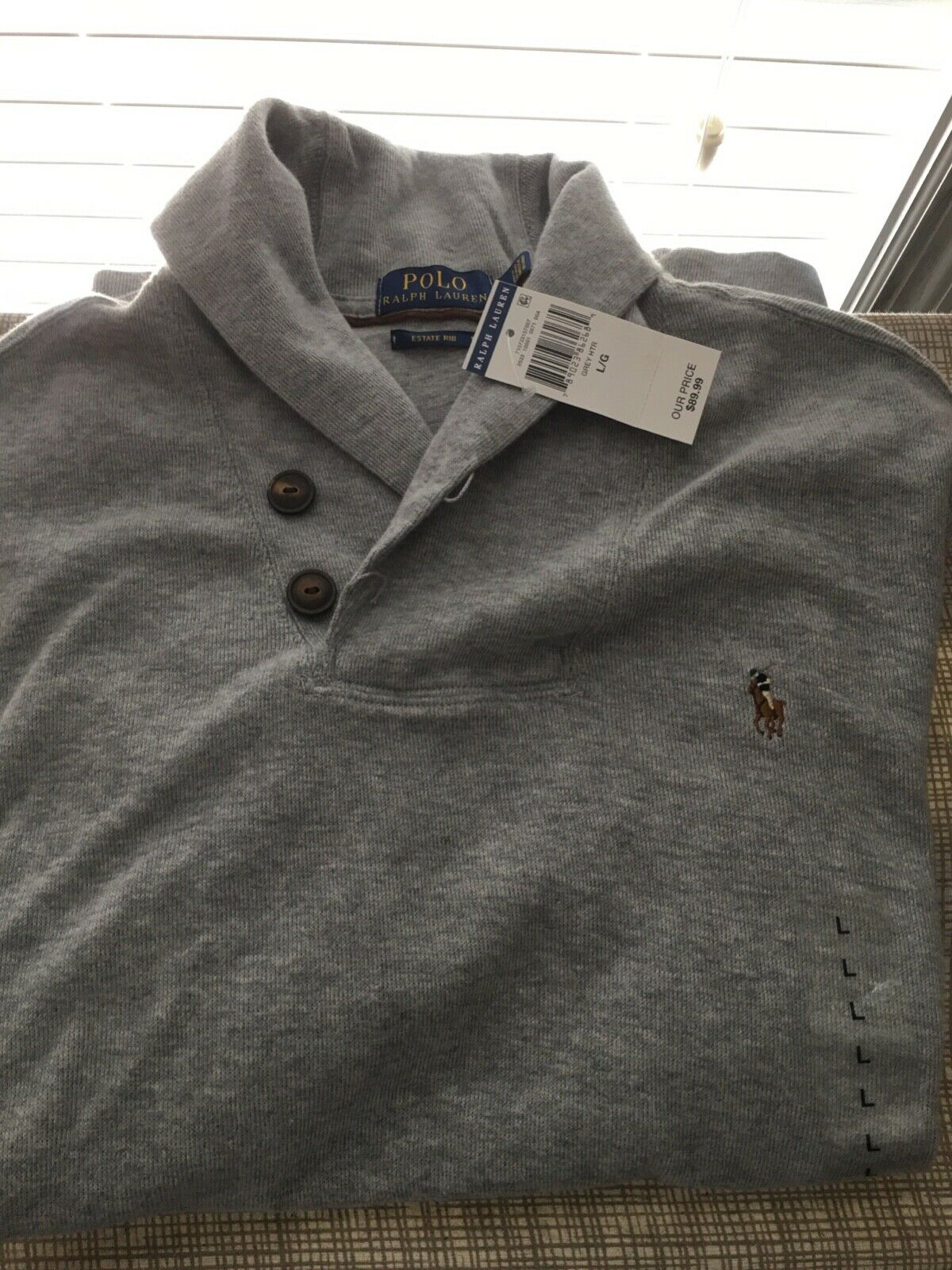 Polo ralph lauren Shawl sweater L- heather grey