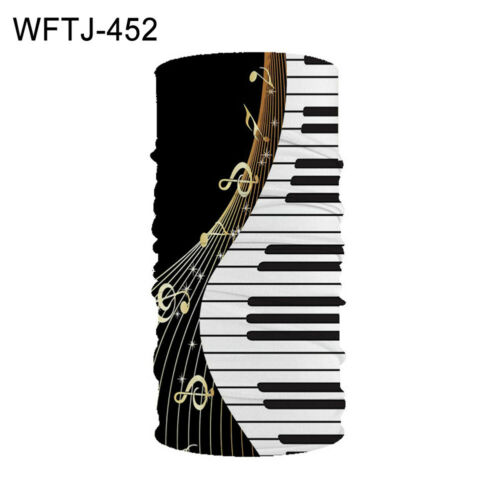 Elastic Leaf Piano Digital Print Stretch Neck Gaiter Bandana Face Cover Scarf
