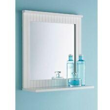 New White Bathroom Maine Wood Frame Mirror Wall Mounted with Cosmetics Shelf UK