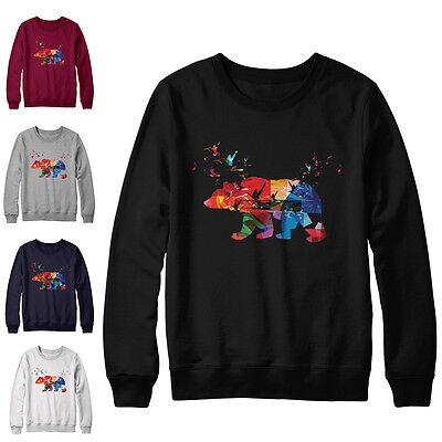 Colourful Polar Bear Printed Sweater Mens Girls Christmas Jumper Xmas New Top