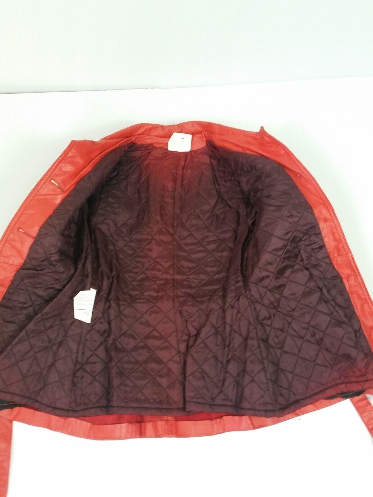 Vintage Orange Leather Womens Jacket Mod 1970s XS - image 9