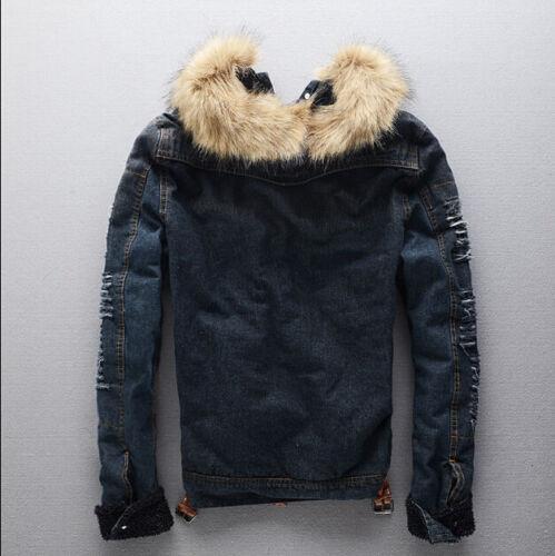 Men/'s Winter Warm Fur Collar Denim Jacket Fleece Thick Padded Coat Outwear Parka