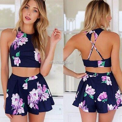 Vintage Women Floral Bodycon Jumpsuit Party Playsuit Romper Shorts Clubwear S-XL