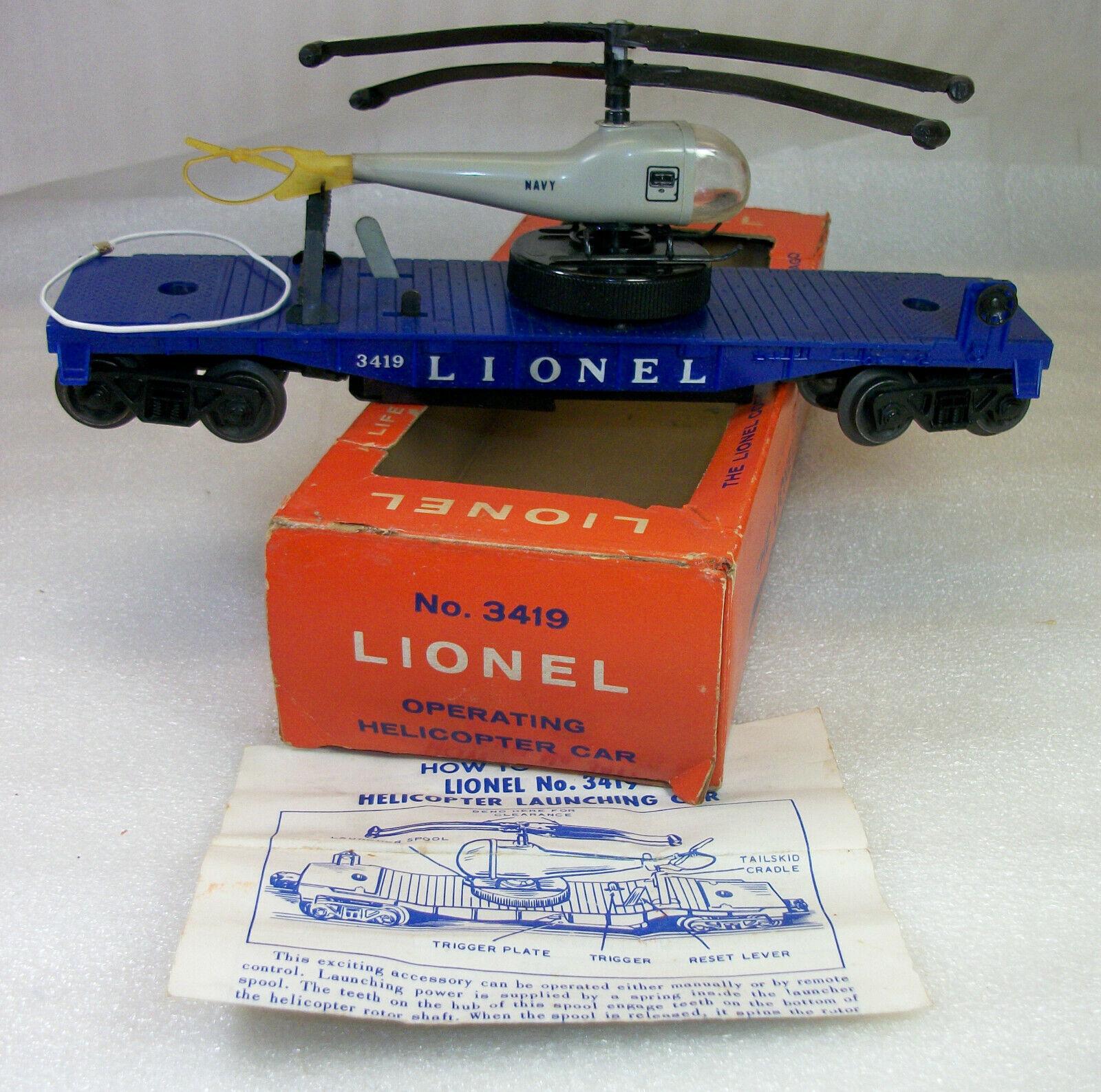 3G LIONEL POSTWAR 3419 COPTER CAR w/LARGE WINDER ORIG DBL BLADE COPTER INSTR. OB
