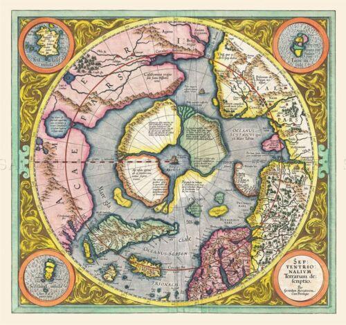 MAP ANTIQUE 1606 MERCATOR HONDIUS POLAR ARCTIC LARGE REPRO POSTER PRINT PAM0017