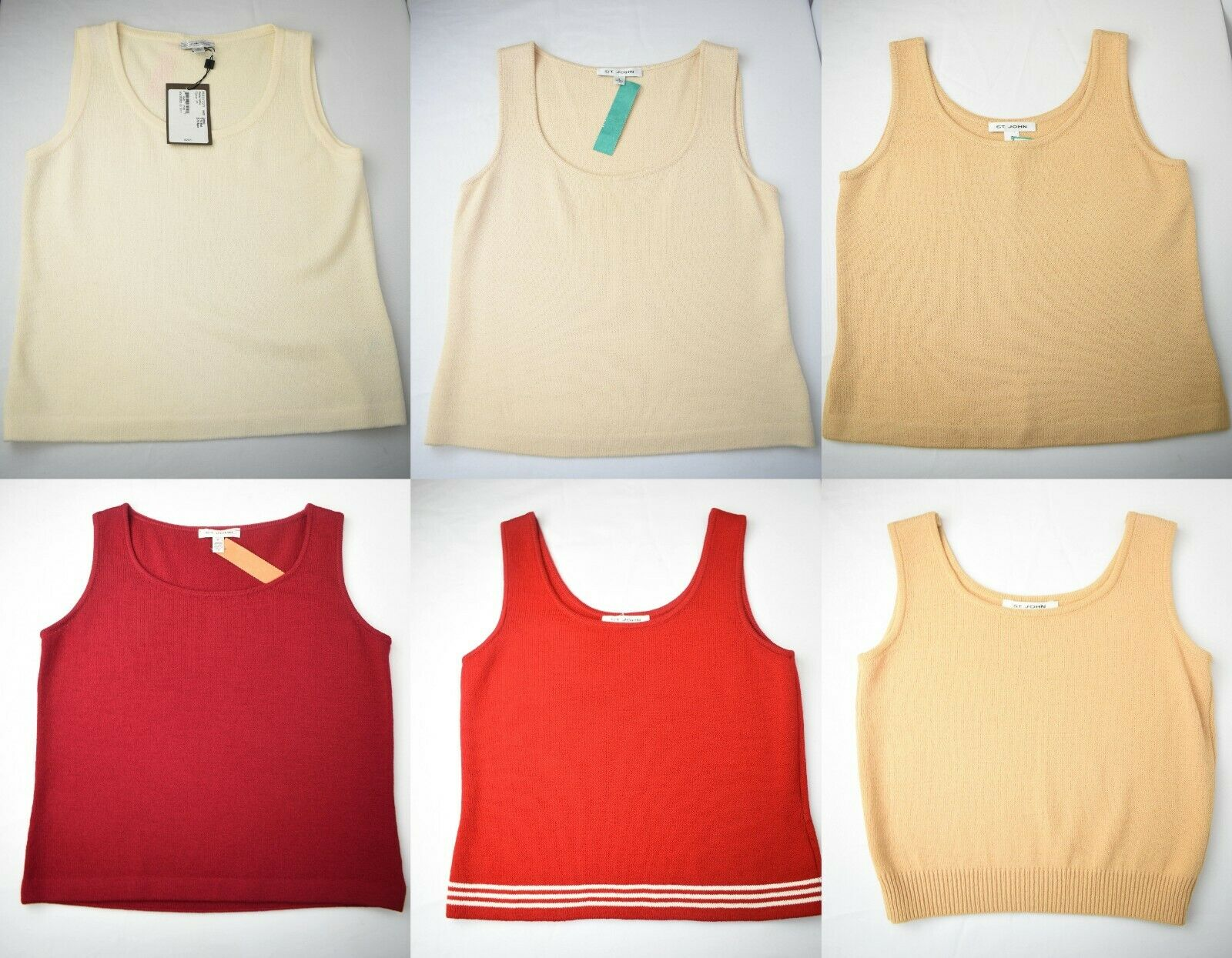 NEW St. John Santana Knit Shell Top Sleeveless Multicolor Wool Blend P