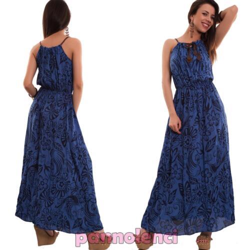 Vestito donna lungo abito fiori foglie bretelle ecopelle elastico nuovo AS-5910