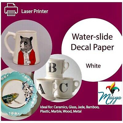 """Laser Waterslide Decal Paper WHITE for Dark Colored Surfaces 8.5/""""x11/""""  5 Sheets"""