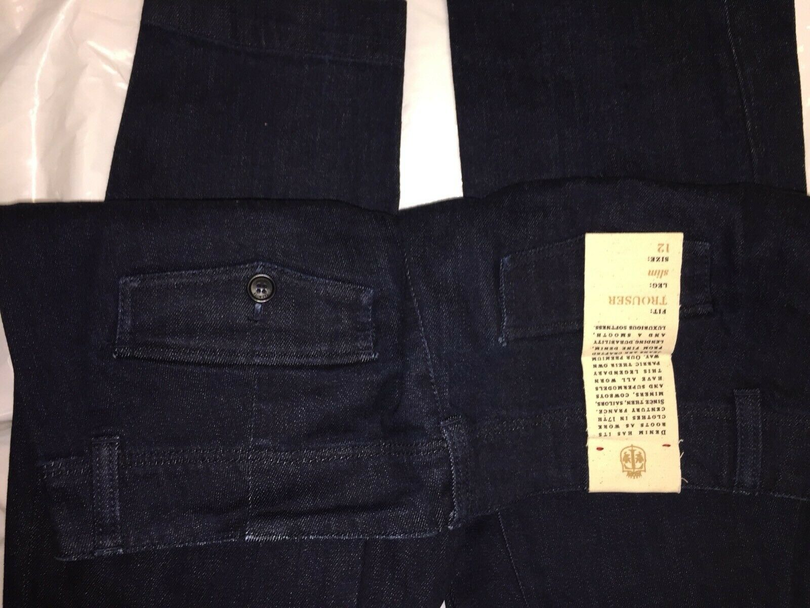 88 NWT   TALBOTS Slim Trouser DARK bluee DENIM Pants Jeans sz 12 31