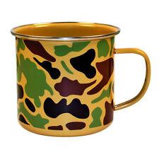 CAMOUFLAGE ENAMEL MUG CAMPING CUP STEEL GIFT 500ML ARMY MENS BOYS CAMO TIN