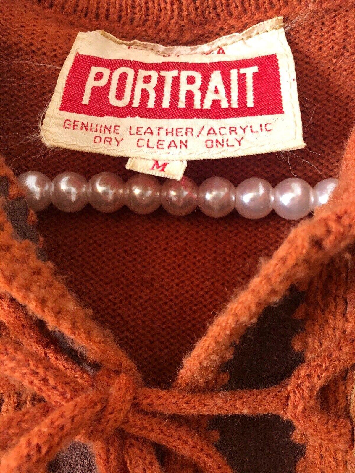 Vintage Portrait Womens Sz M Leather Acrylic Swea… - image 6