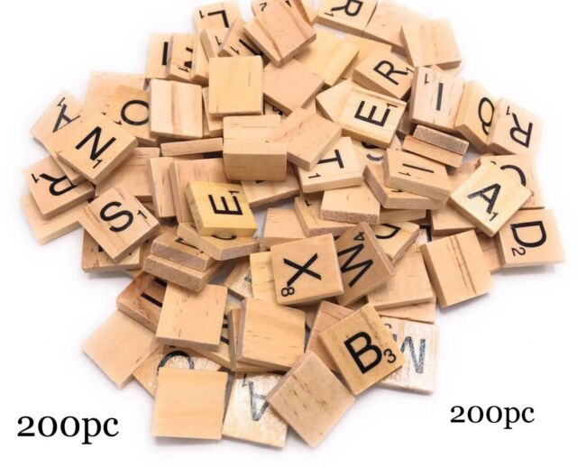 NEW 200 WOODEN SCRABBLE TILES BLACK LETTERS & NUMBERS FOR CRAFTS UK SELLER