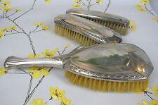 Vintage silver plated dressing table vanity / grooming set of 3 brushes.