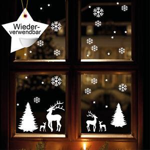 Fensterbild-Winterwald-WIEDERVERWENDBAR-weiss-Elche-Rentiere-Schneeflocken-12317