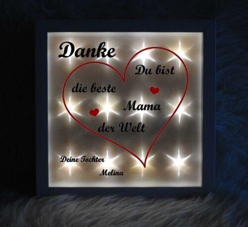 Geschenk Beleuchteter Bilderrahmen Beste Mama der Welt Leuchtbild