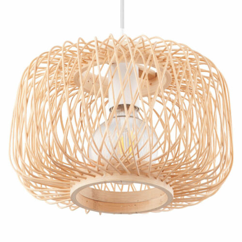 Bambus Decken Hänge Leuchte natur Wohn Zimmer FILAMENT Geflecht Pendel Lampe