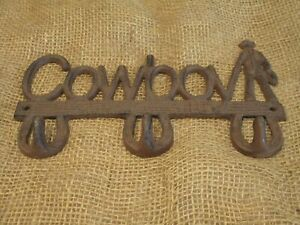 Cast Iron Cowboy Coat Hooks Towel Holder Hook Western Metal Hangers Sign Bath Ebay