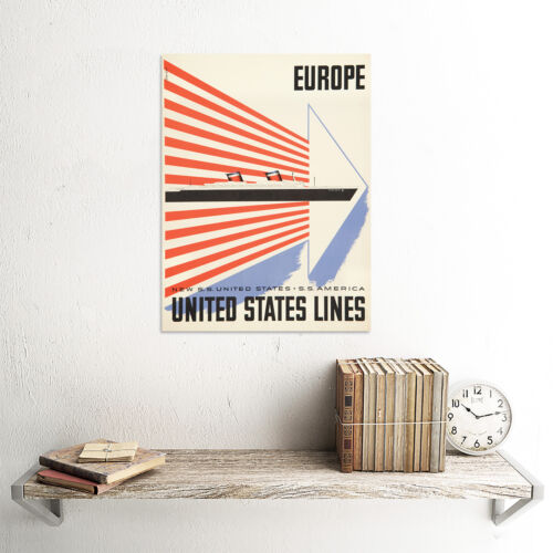 TRAVEL TRANSPORT SHIP UNITED STATES LINES EUROPE ART PRINT POSTER BB10091