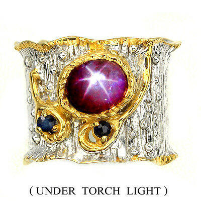Rare 6 Rays Star Red Ruby Blue Sapphire 925 Sterling Silver Ring Sz 7.5 Handmade