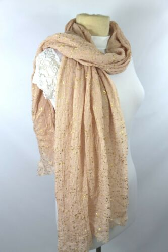 B93 Metallic Spec Raw Edge Crinkle Scarf Pink Peach Gold  Shawl Wrap Boutique