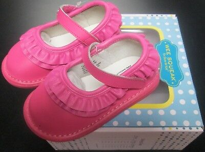 NEW WEE SQUEAK GIRLS HOT PINK RUFFLED LEATHER MARY JANE SQUEAKY SHOES SZ 9