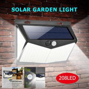 Lampada-luce-faretto-faro-esterno-energia-solare-208-LED-sensore-movimento