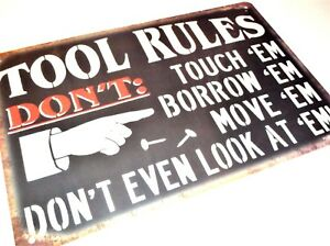 Man Cave Rules : Tool rules metal tin signs vintage cafe pub bar garage man cave