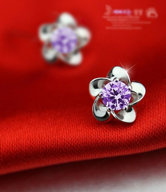 Silver Plated Earrings Stud Platinum Plated Allergy Free Crystal Purple e
